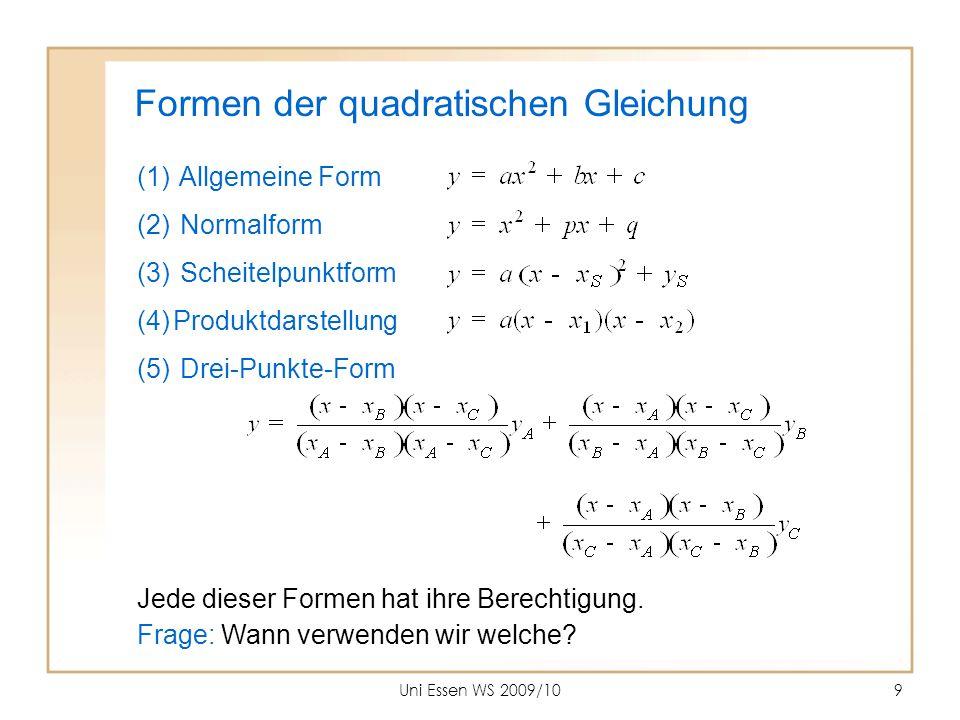 Formen der quadratischen Gleichung