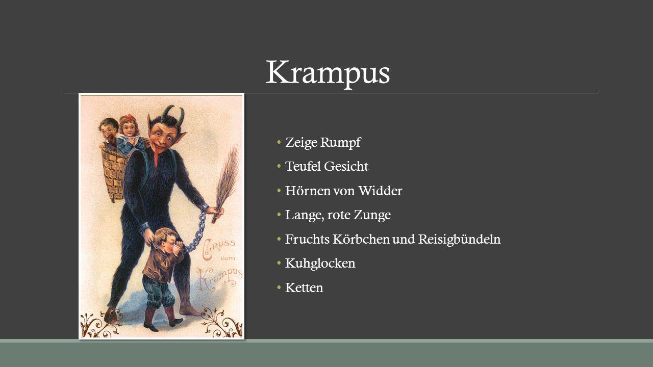 Krampus Zeige Rumpf Teufel Gesicht Hörnen von Widder Lange, rote Zunge