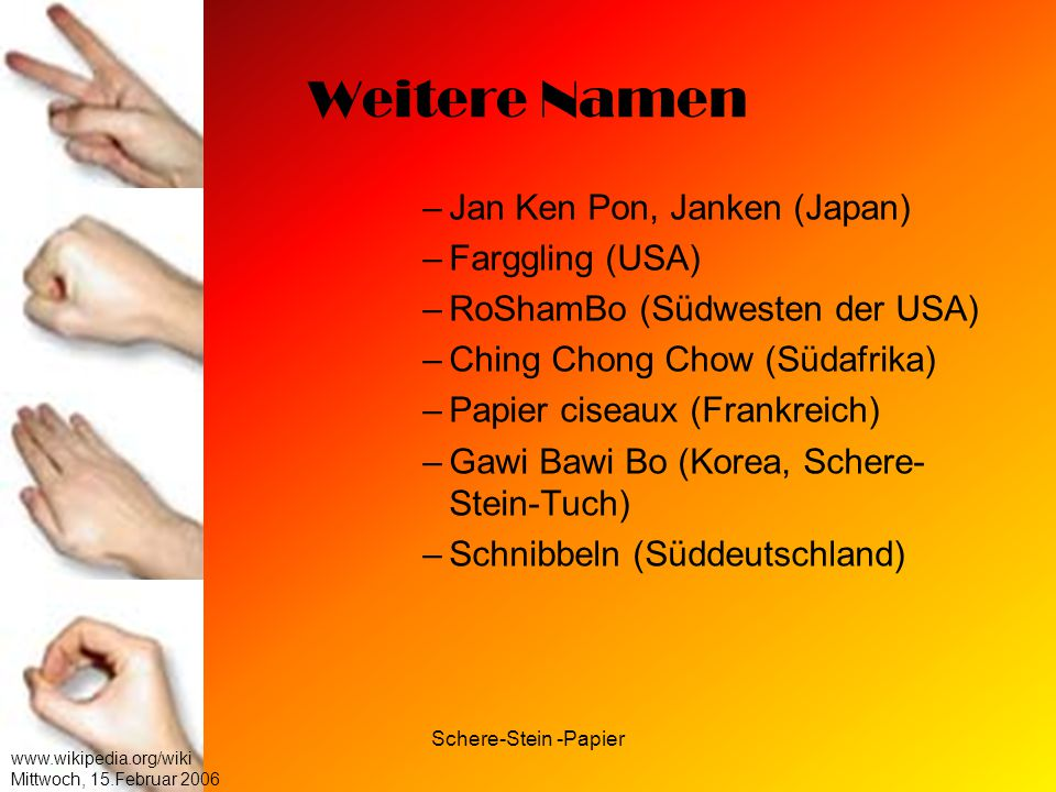 Weitere Namen Jan Ken Pon, Janken (Japan) Farggling (USA)