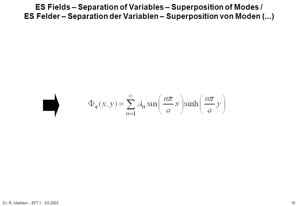 ES Fields – Separation of Variables – Superposition of Modes / ES Felder – Separation der Variablen – Superposition von Moden (...)