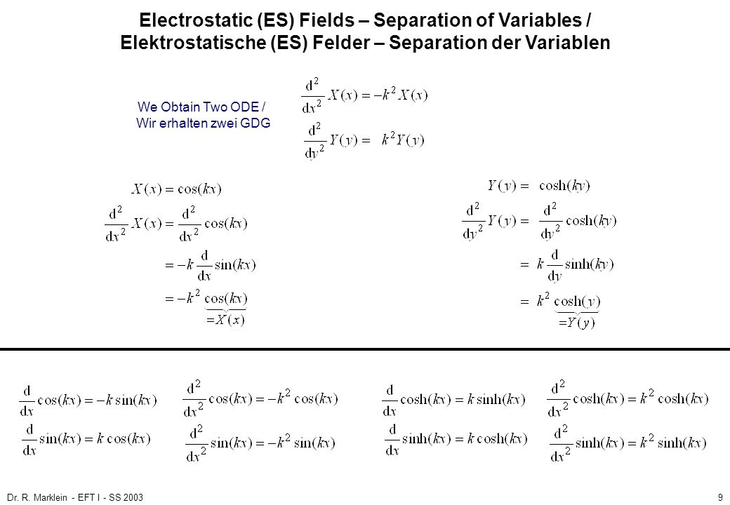 Electrostatic (ES) Fields – Separation of Variables / Elektrostatische (ES) Felder – Separation der Variablen