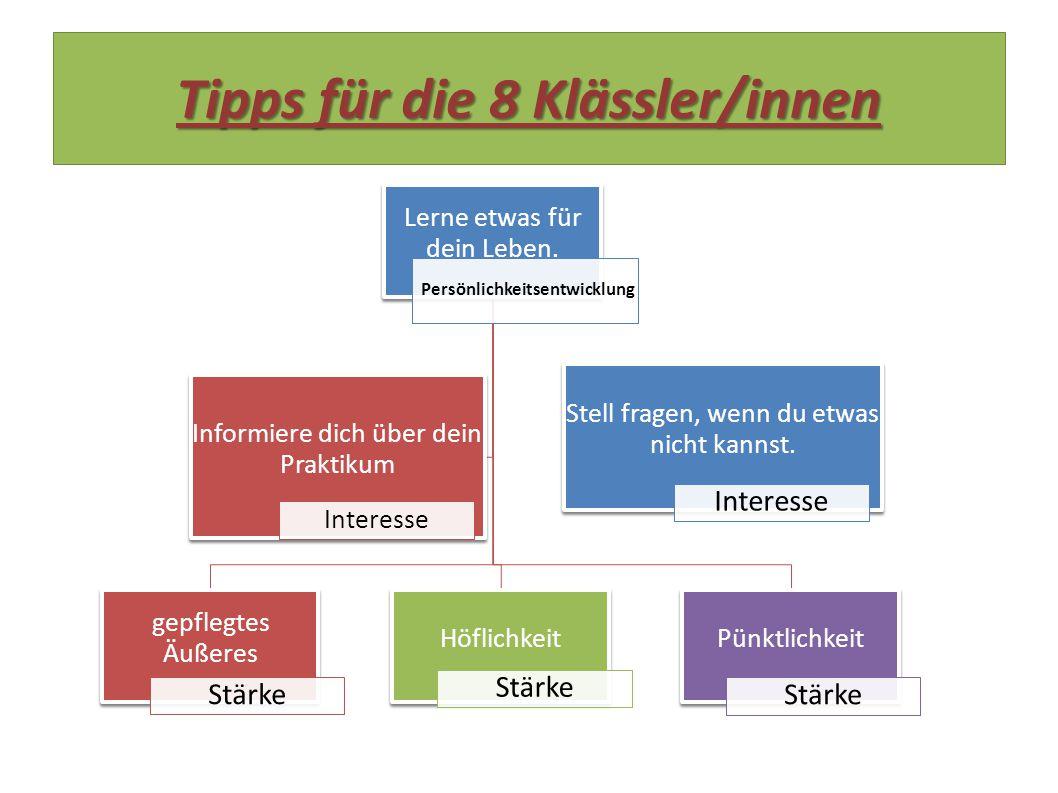 Tipps für die 8 Klässler/innen