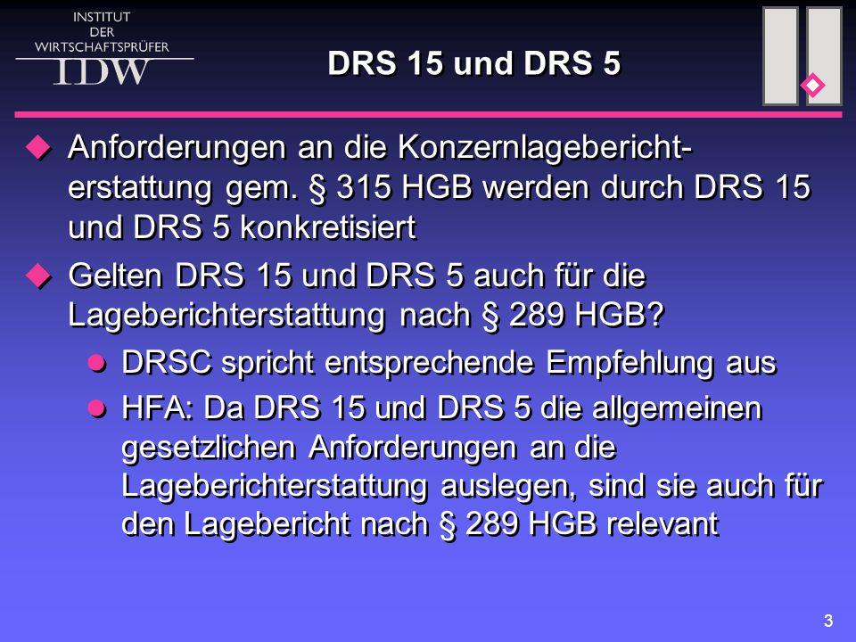 DRS 15 und DRS 5 Anforderungen an die Konzernlagebericht-erstattung gem. § 315 HGB werden durch DRS 15 und DRS 5 konkretisiert.