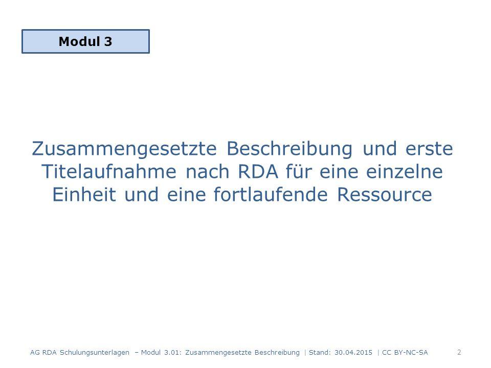 Modul 3 Zusammengesetzte Beschreibung und erste Titelaufnahme nach RDA für eine einzelne Einheit und eine fortlaufende Ressource.