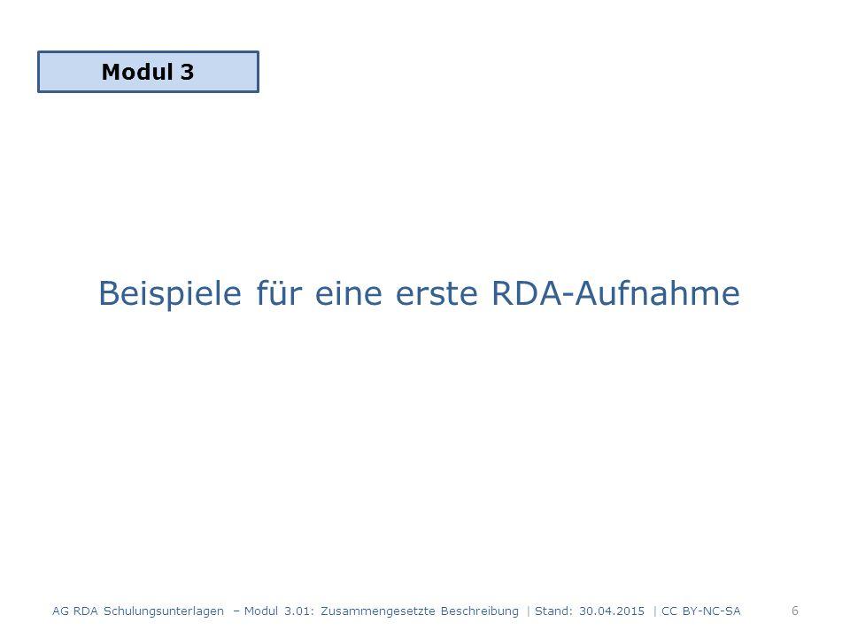 Beispiele für eine erste RDA-Aufnahme