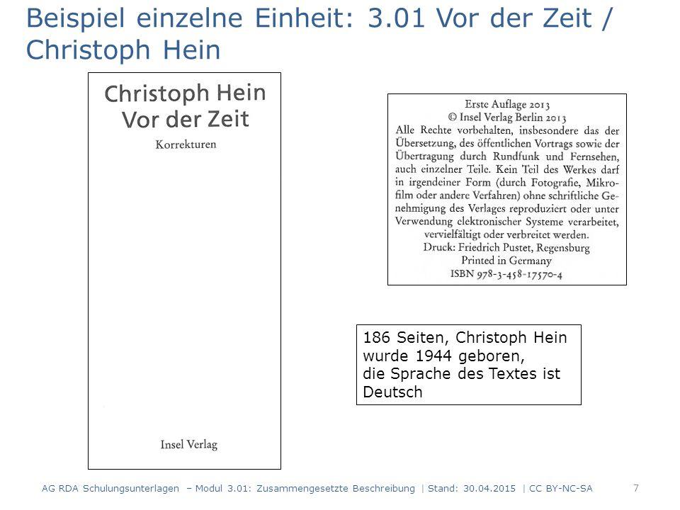 Beispiel einzelne Einheit: 3.01 Vor der Zeit / Christoph Hein