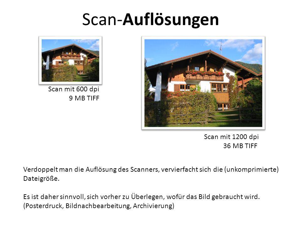 Scan-Auflösungen Scan mit 600 dpi 9 MB TIFF Scan mit 1200 dpi
