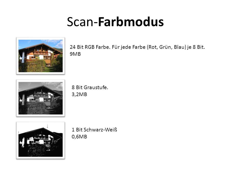 Scan-Farbmodus 24 Bit RGB Farbe. Für jede Farbe (Rot, Grün, Blau) je 8 Bit. 9MB. 8 Bit Graustufe.