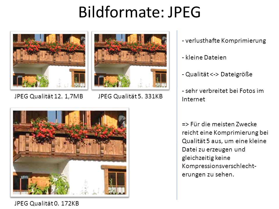 Bildformate: JPEG verlusthafte Komprimierung kleine Dateien
