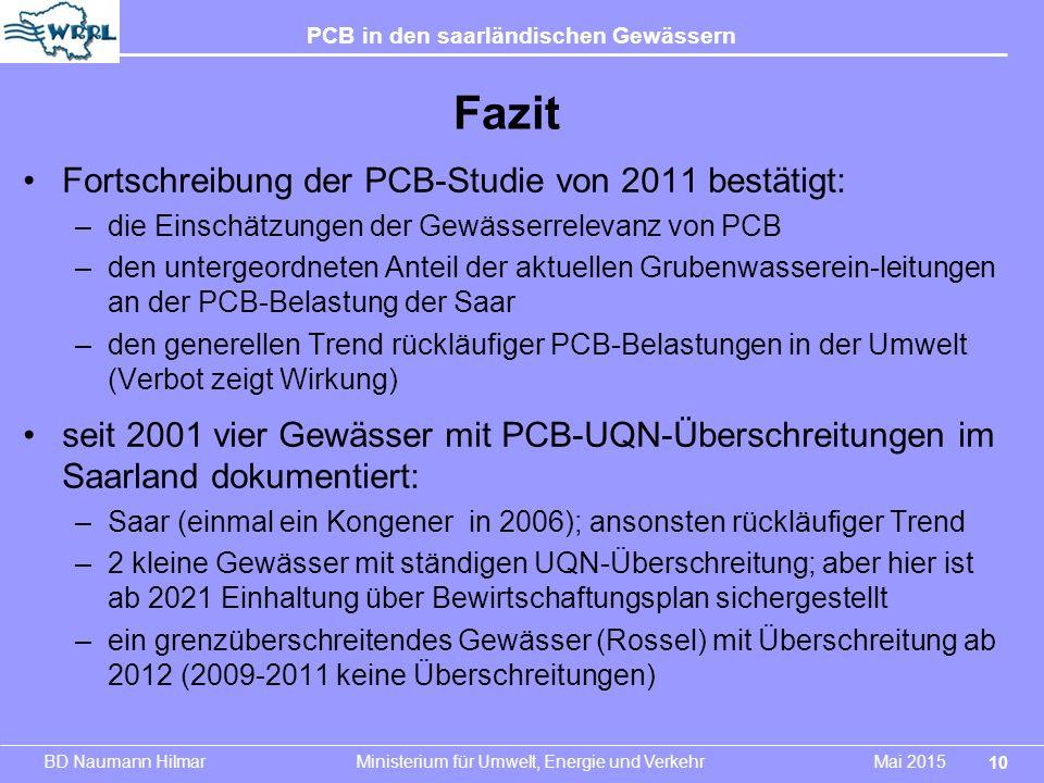 Fazit Fortschreibung der PCB-Studie von 2011 bestätigt: