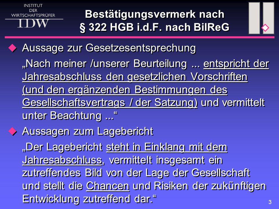 Bestätigungsvermerk nach § 322 HGB i.d.F. nach BilReG