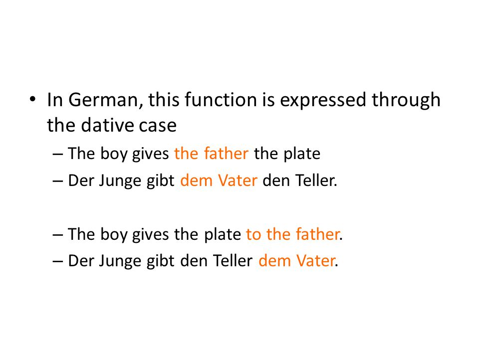 In German, this function is expressed through the dative case