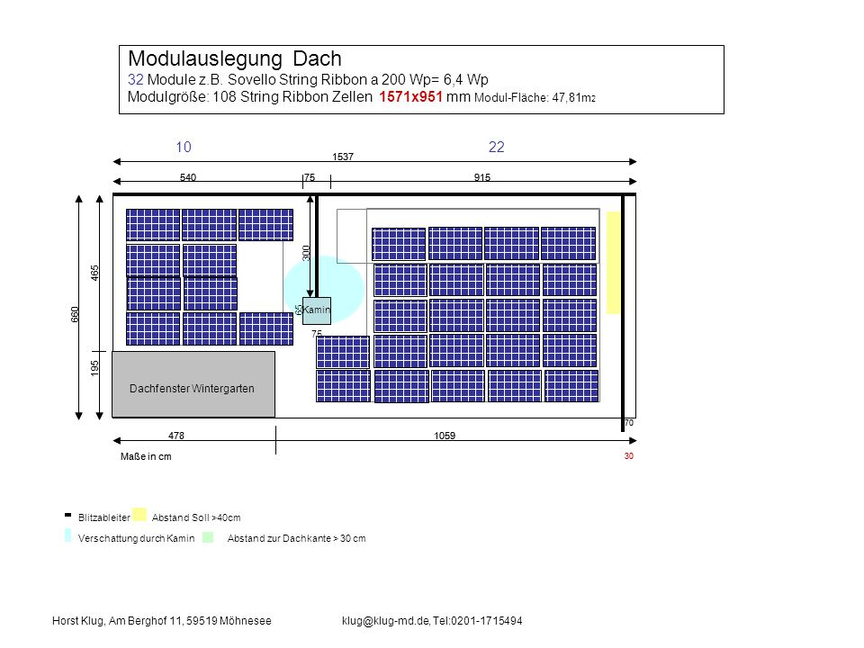 Modulauslegung Dach 32 Module z.B. Sovello String Ribbon a 200 Wp= 6,4 Wp. Modulgröße: 108 String Ribbon Zellen 1571x951 mm Modul-Fläche: 47,81m2.