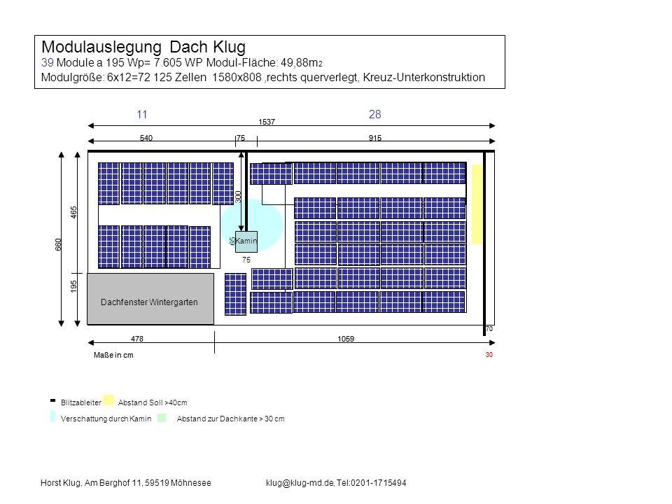 Modulauslegung Dach Klug 39 Module a 195 Wp= 7