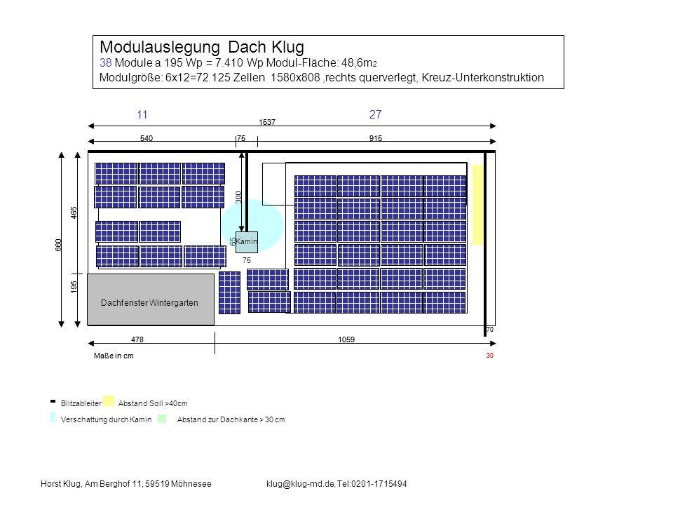 Modulauslegung Dach Klug 38 Module a 195 Wp = 7