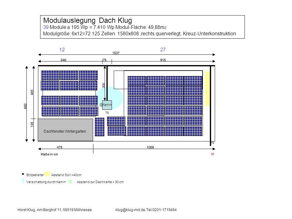 Modulauslegung Dach Klug 39 Module a 195 Wp = 7