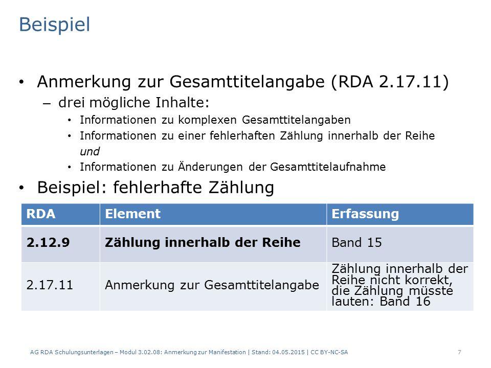 Beispiel Anmerkung zur Gesamttitelangabe (RDA 2.17.11)