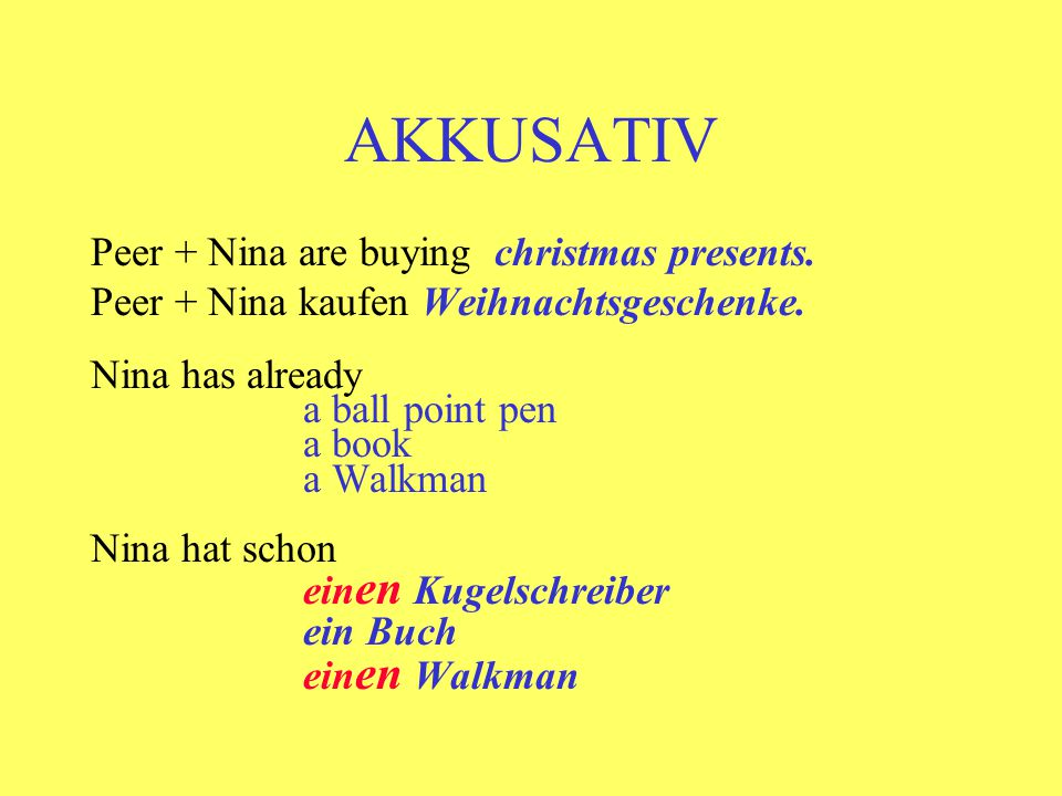AKKUSATIV Peer + Nina are buying christmas presents.