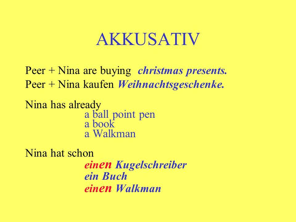 AKKUSATIV Peer + Nina are buying christmas presents.