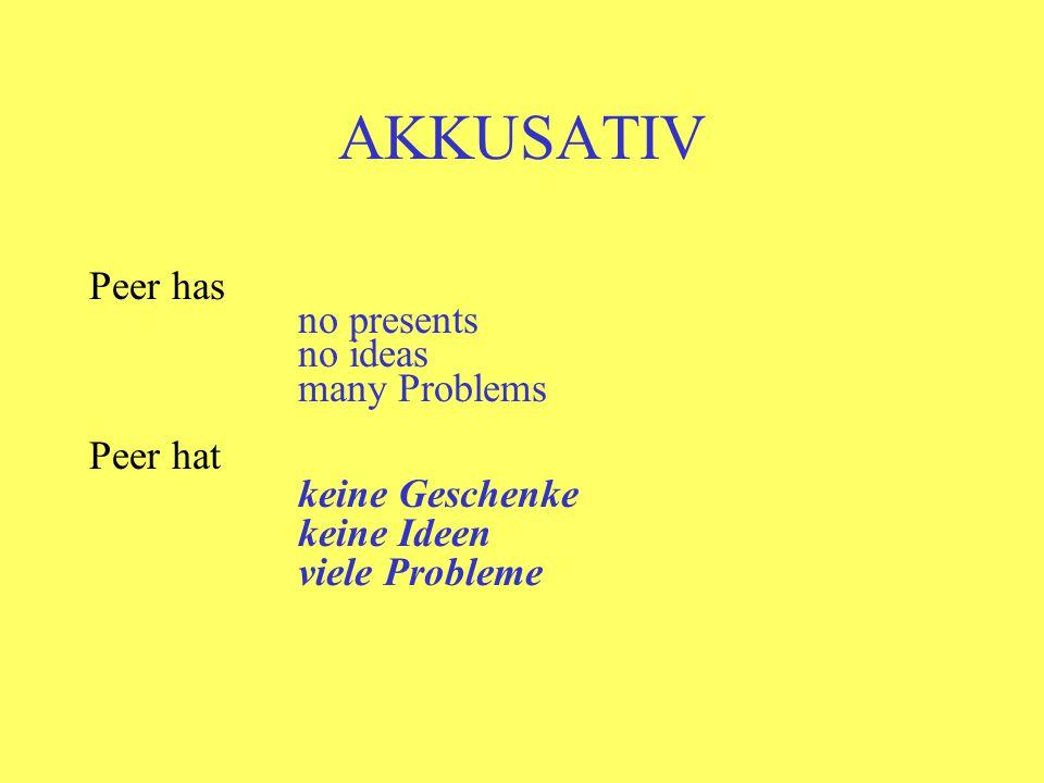 AKKUSATIV Peer has no presents no ideas many Problems Peer hat