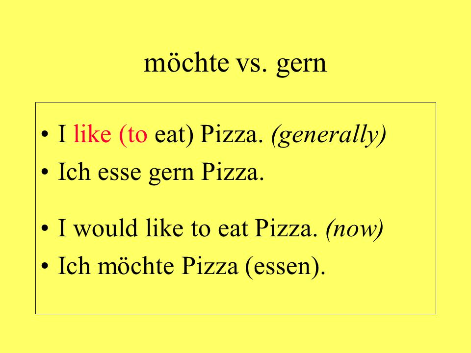 möchte vs. gern I like (to eat) Pizza. (generally)