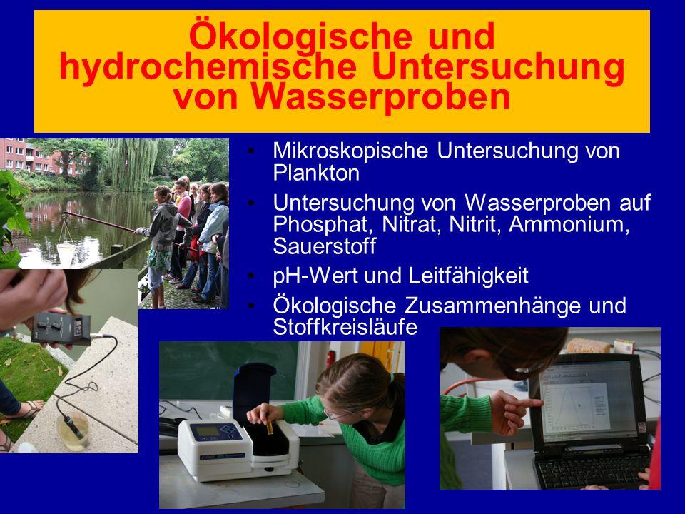 Ökologische und hydrochemische Untersuchung von Wasserproben