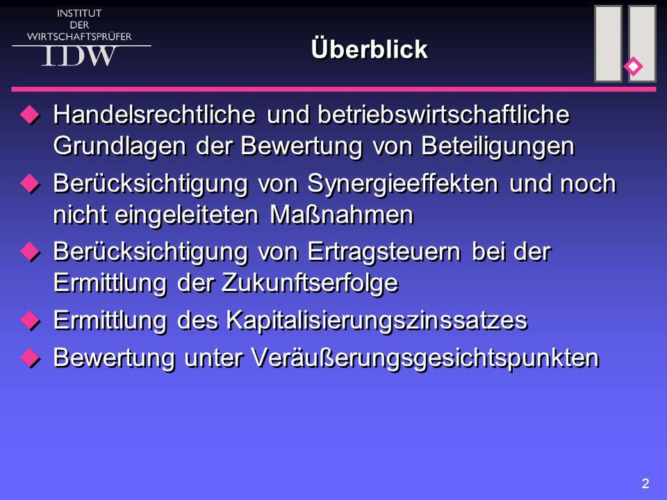 Überblick Handelsrechtliche und betriebswirtschaftliche Grundlagen der Bewertung von Beteiligungen.