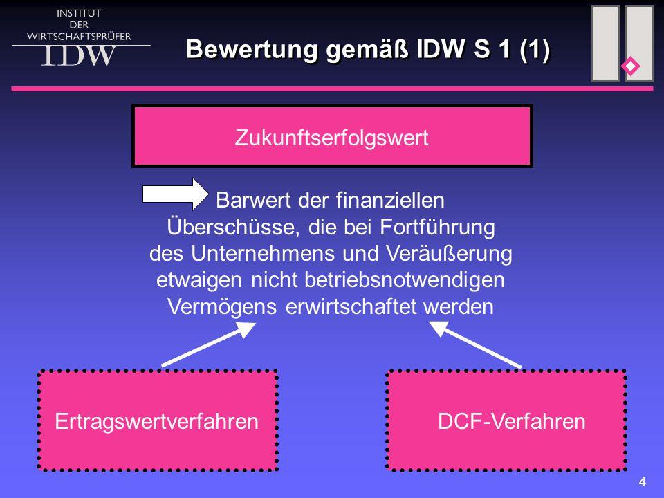 Bewertung gemäß IDW S 1 (1)
