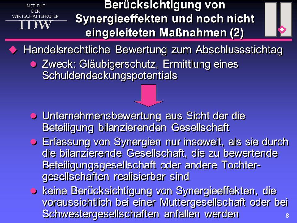 Berücksichtigung von Synergieeffekten und noch nicht eingeleiteten Maßnahmen (2)