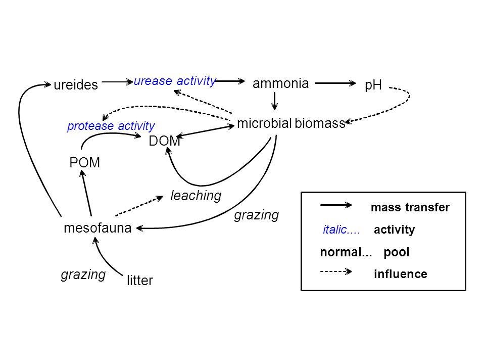 ureides ammonia pH microbial biomass DOM POM leaching grazing