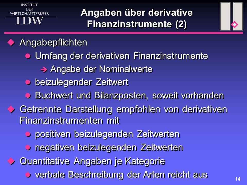 Angaben über derivative Finanzinstrumente (2)
