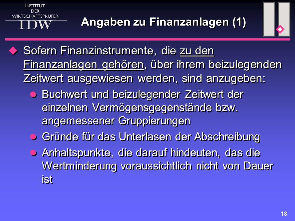 Angaben zu Finanzanlagen (1)