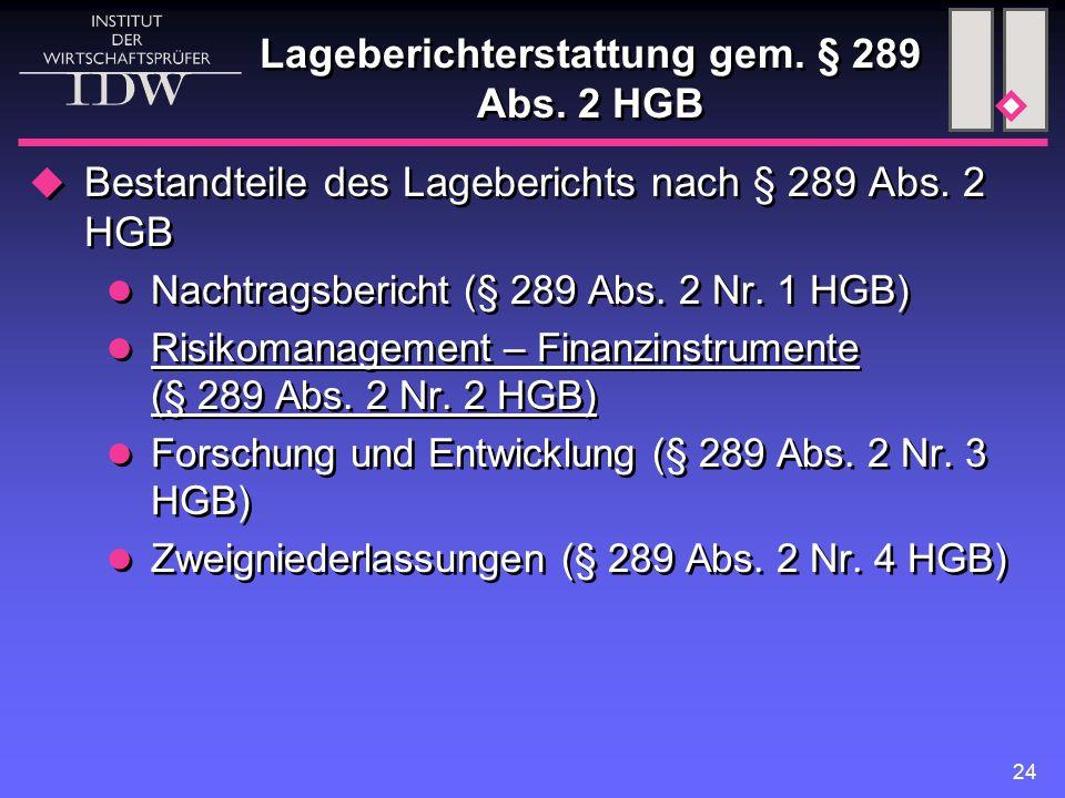 Lageberichterstattung gem. § 289 Abs. 2 HGB