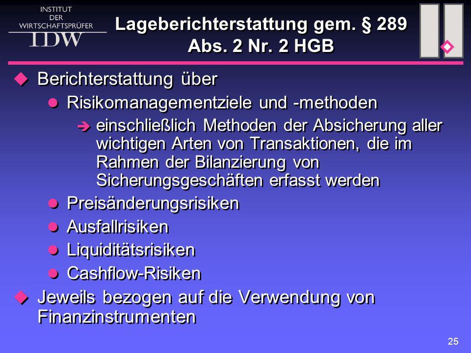 Lageberichterstattung gem. § 289 Abs. 2 Nr. 2 HGB