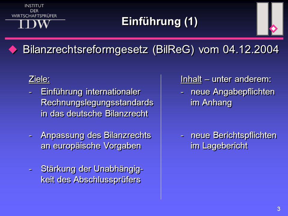 Bilanzrechtsreformgesetz (BilReG) vom 04.12.2004