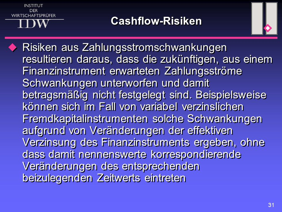 Cashflow-Risiken
