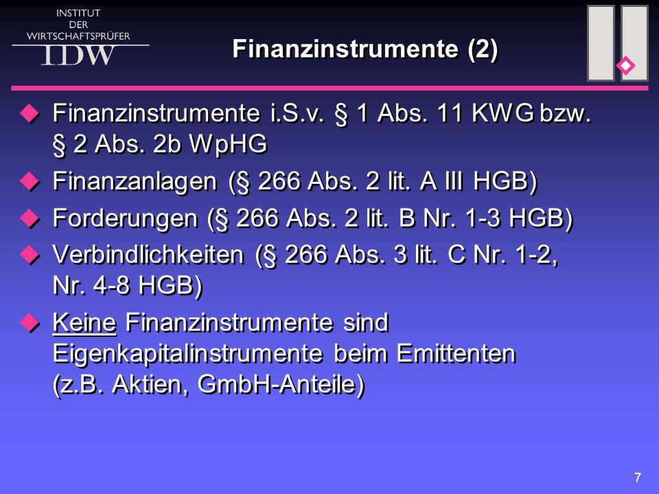 Finanzinstrumente (2) Finanzinstrumente i.S.v. § 1 Abs. 11 KWG bzw. § 2 Abs. 2b WpHG. Finanzanlagen (§ 266 Abs. 2 lit. A III HGB)