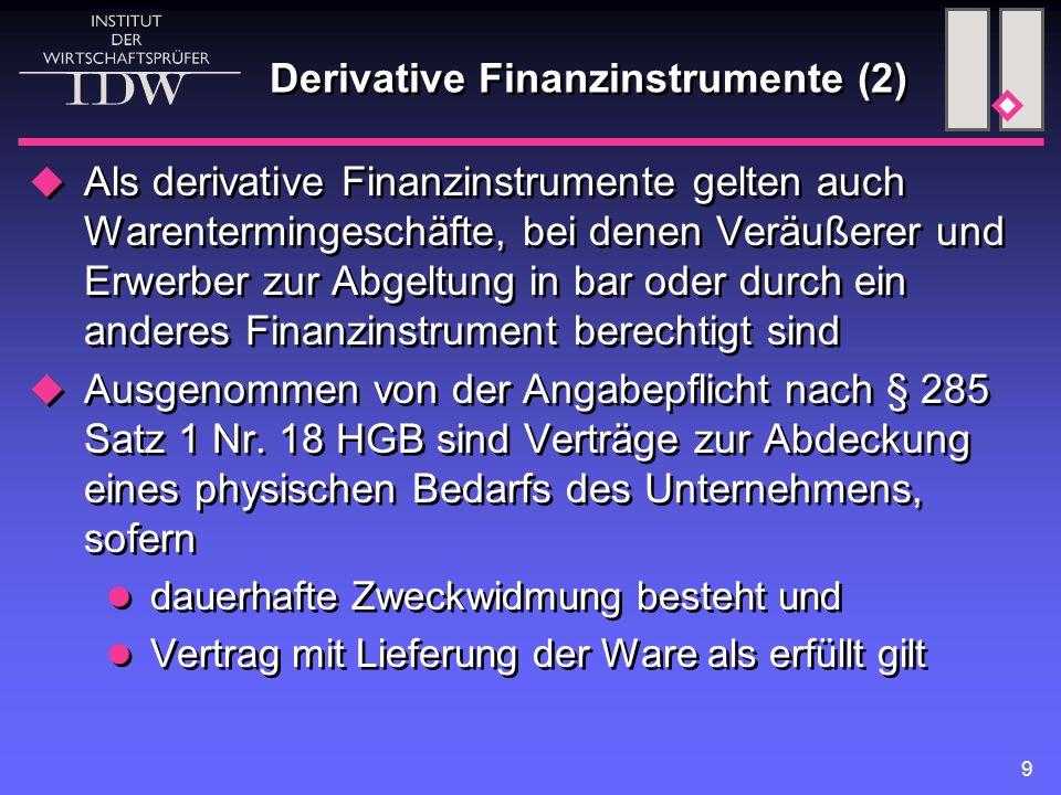 Derivative Finanzinstrumente (2)