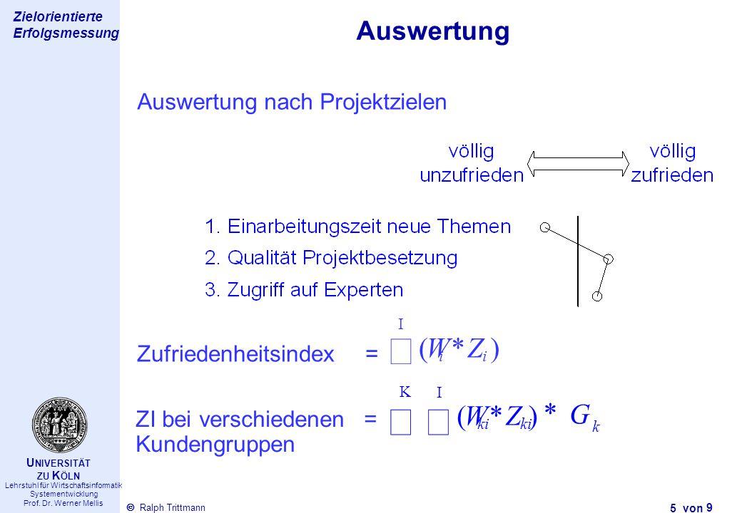 å å ( * ) W Z ( * ) W Z G Auswertung Auswertung nach Projektzielen