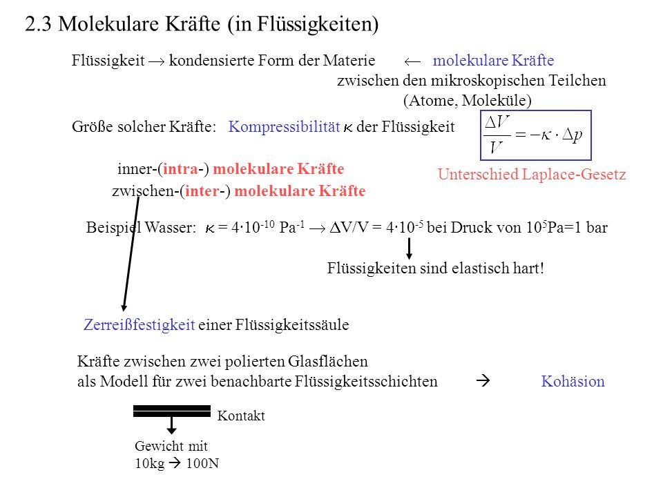 2.3 Molekulare Kräfte (in Flüssigkeiten)