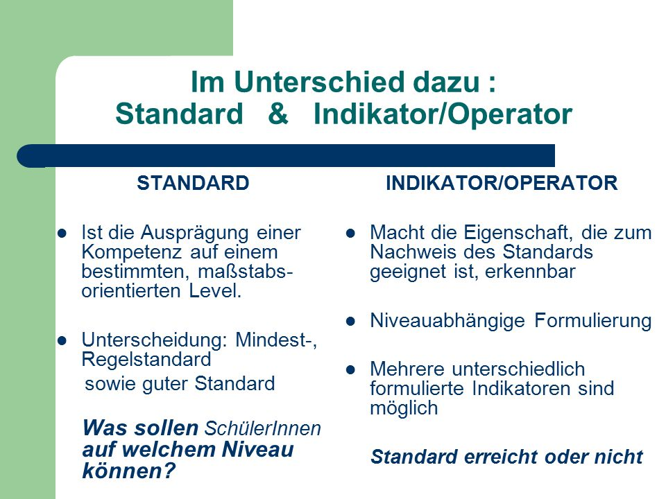 Im Unterschied dazu : Standard & Indikator/Operator