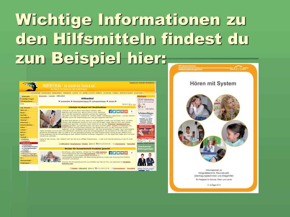 Wichtige Informationen zu den Hilfsmitteln findest du zun Beispiel hier: