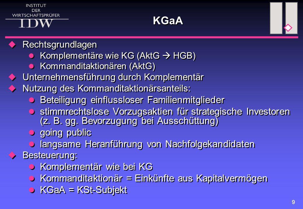 KGaA KG natürliche Person KGaA Komplementärin (Einheits-)