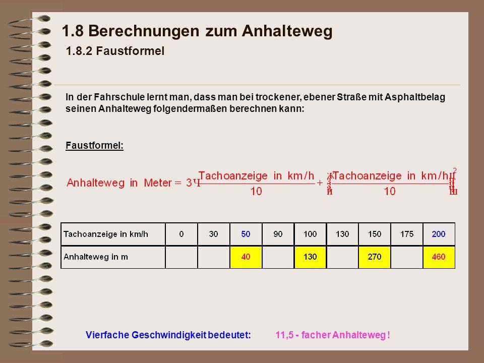 1.8 Berechnungen zum Anhalteweg