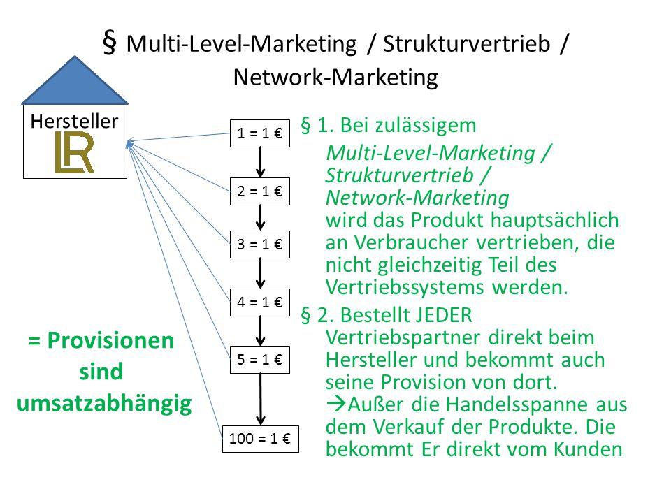 § Multi-Level-Marketing / Strukturvertrieb / Network-Marketing