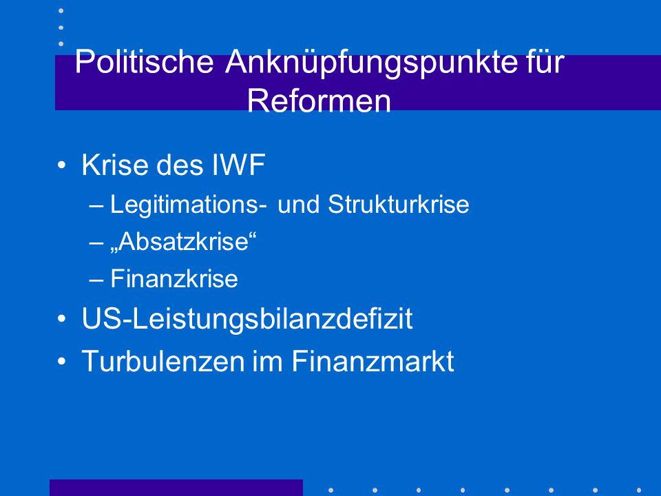 Politische Anknüpfungspunkte für Reformen