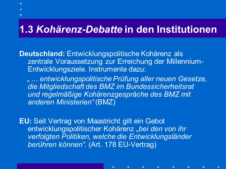 1.3 Kohärenz-Debatte in den Institutionen