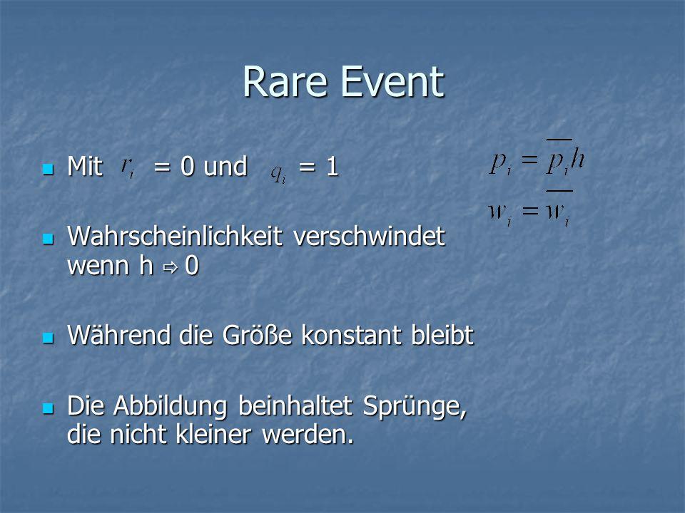 Rare Event Mit = 0 und = 1 Wahrscheinlichkeit verschwindet wenn h  0