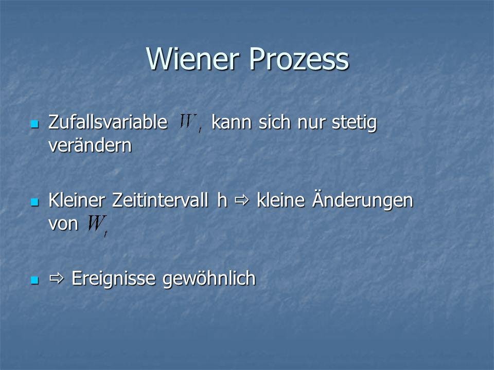 Wiener Prozess Zufallsvariable kann sich nur stetig verändern