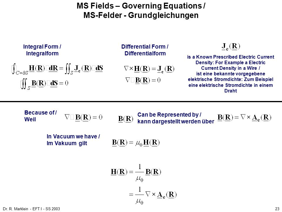 MS Fields – Governing Equations / MS-Felder - Grundgleichungen